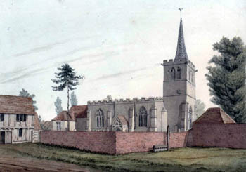 Wootton church from the north about 1820 [X254/88/277]